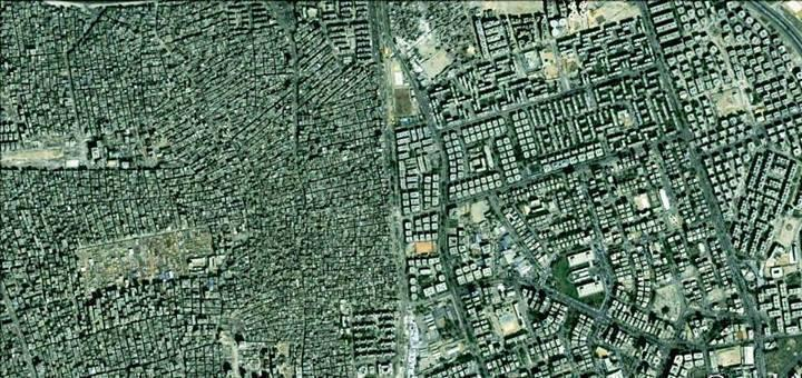 """A satellite image of """"how the other half lives"""" - The leafy Cairo suburb of Maadi on the right and the cramped housing settlements of Dar el-Salam on the right"""