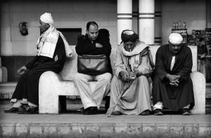 Egyptian men waiting a train station in Tanta (Muhamad Jamal Via)