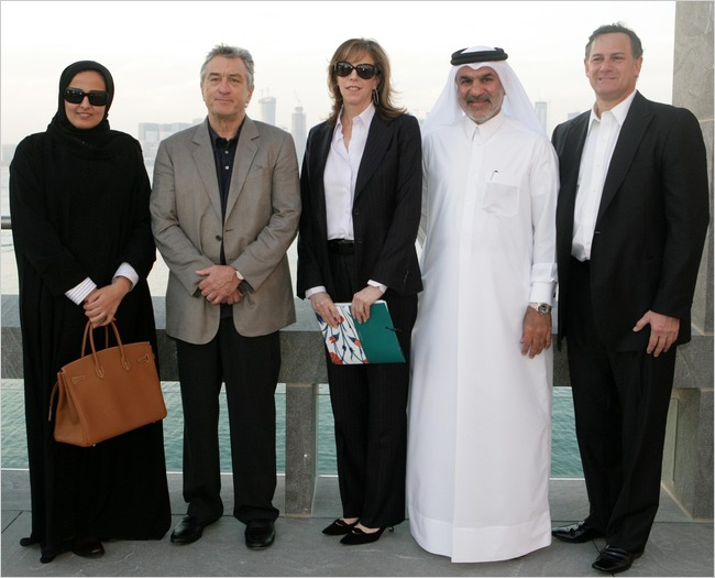 Sheikha Mayassa with the Tribeca Film Festival's Robert De Niro and Jane Rosenthal, QMA's Abdulla Al Najjar and TFF's Craig Hatkoff in Doha in 2009 (Doha Film Institute)
