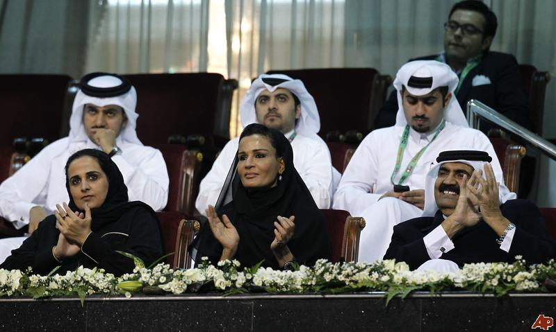 Sheikha Mayassa with parents Sheikha Mozah and Sheikh Hamad at the Qatar ATP Open in .