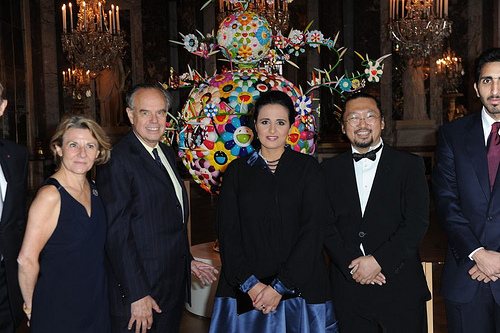 Sheikha Mayassa (center) with then French Minister of Culture Frederic Mitterrand (second to left) and renowned visual artist Takashi Murakami (second from right) (Ammar Abd Rabbo)