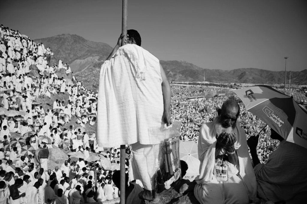 Pilgrims gathering at Mount Arafat, where Mohammad became a prophet.