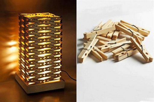 Diy 20 lampshades that will light up your life diy wood clip lampshade aloadofball Gallery