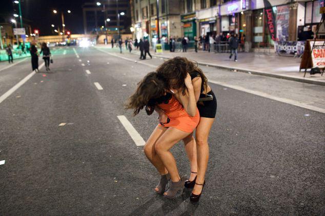 Drunk girls in skirts