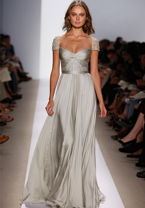 This Gorgeous Silver Wedding Gown Is Simple Delicate Yet Refreshing Acra Uses New And Pearl Fabrics To Put A Twist On The Traditional Stark White
