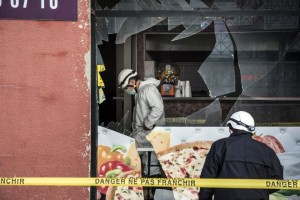 The scene of an explosion at a kebab shop located near to a mosque in eastern France. Attacks on several Muslim sites were reported across France in the wake of the Charlie Hebdo tragedy.