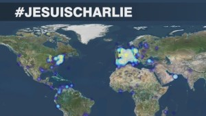 The #JeSuisCharlie hashtag went viral following the Charlie Hebdo attack on Wednesday.