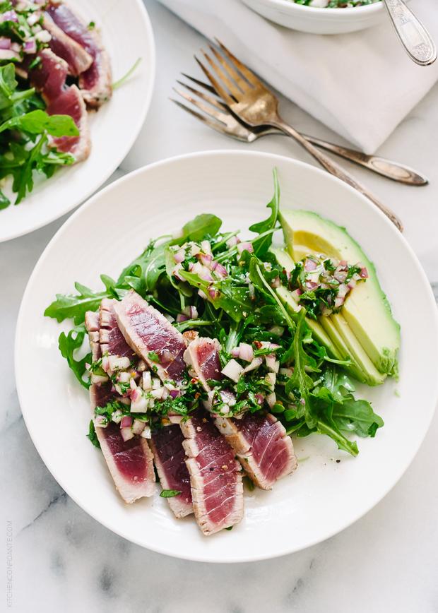 Seared Ahi Tuna with Chimichurri Sauce | www.kitchenconfidante.c