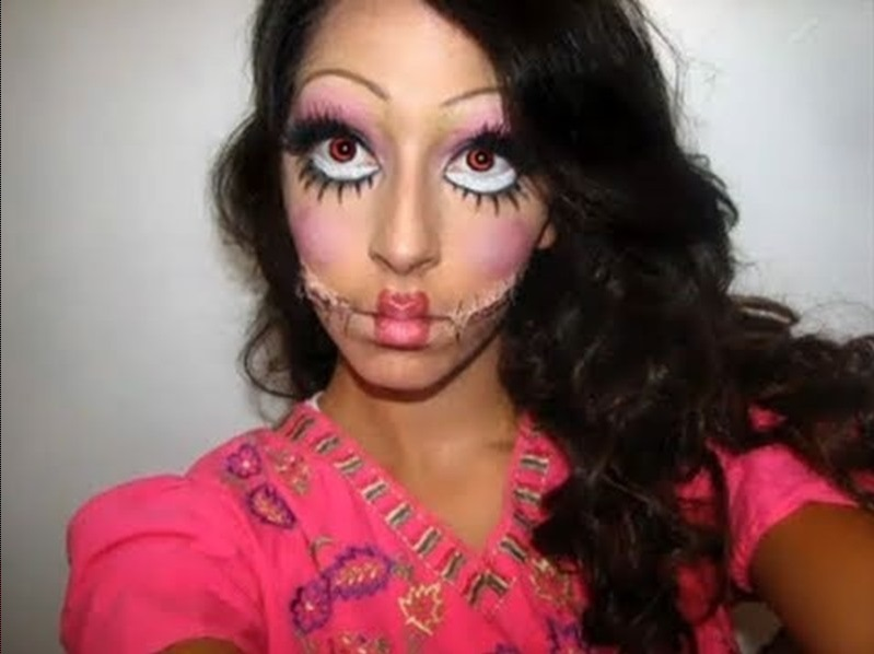 create super creepy patchwork doll makeup look for