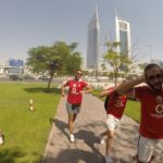 Huawei competition winners celebrate on the day of the Al Ahly Vs. AS Roma friendly match in Al Ain, UAE on May 20, 2016.