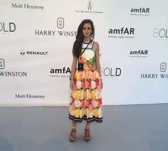 Wearing Mary Katrantzou at the amfAR