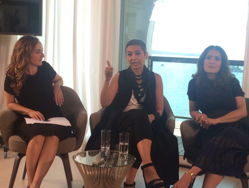 "Moderator Zainab Salbi and Salma Hayek at the ""Women in Motion"" panel in Cannes 2016 Anicee Gohar/Scoop Empire"