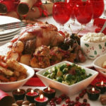 Complete Christmas Roast turkey lunch main course.