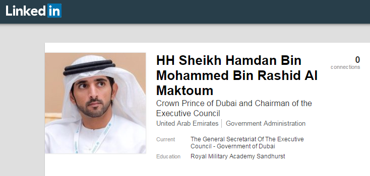 Sheikh Hamdan Joins LinkedIn to 'Communicate with the Public'